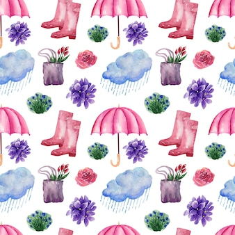 Watercolor backgroundimagem chuva de primavera