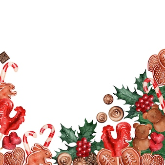 Watercolor backgroundimagem doces de férias de natal