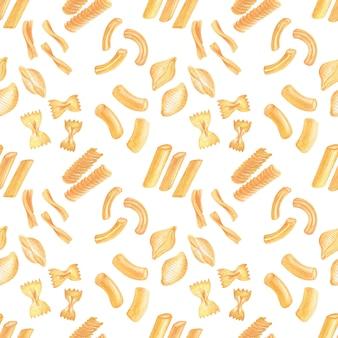 Watercolor seamless patternimagem massas italianas. variedades de massas