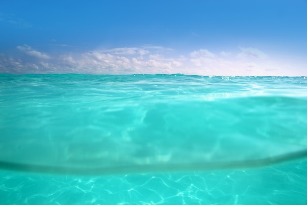 Waterline caribbean sea mar subaquático e azul