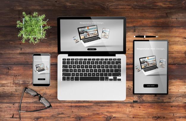 Web design responsivo em dispositivos de renderização em 3d