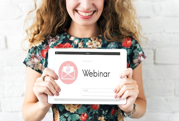 Webinar brainstorming conceito de tecnologia de conexão de conferência na web