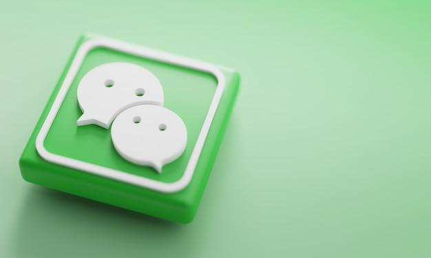Wechat renderização em 3d close-up. modelo de promoção de conta.