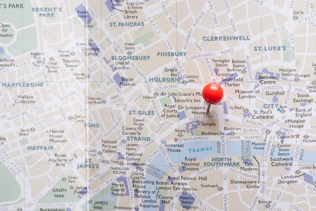 West end do mapa de londres com pin