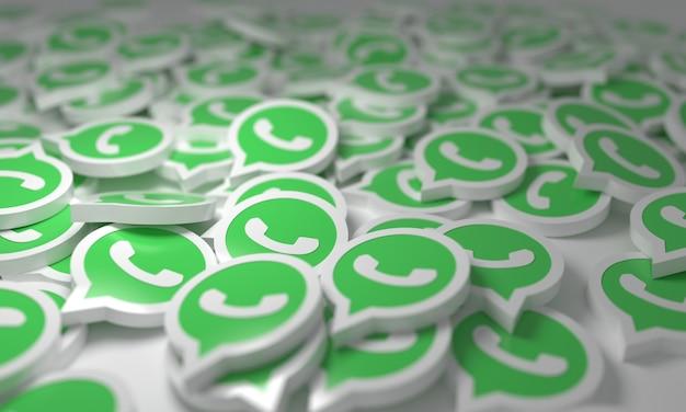 Whatsap empilhado com logotipos 3d isométricos de fundo símbolo de mídia de rede social