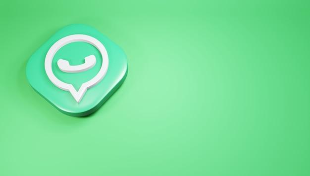 Whatsapp icon 3d render ilustração de mídia social verde limpa e simples
