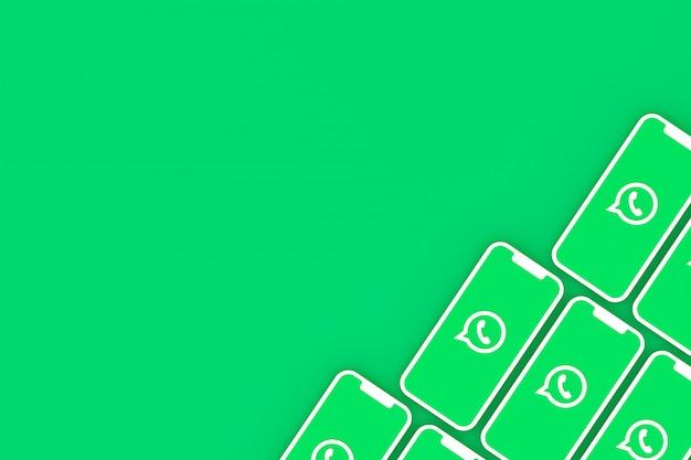 Whatsapp logotipo fundo na tela do smartphone ou render 3d móvel