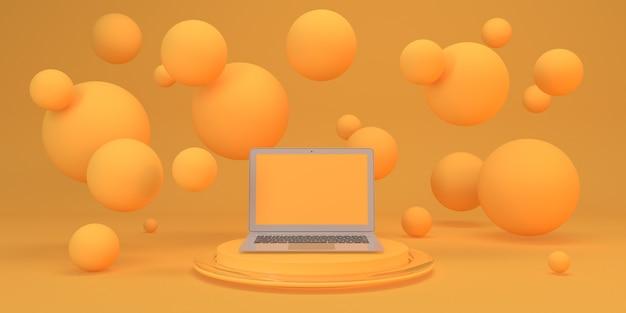 Whit de fundo amarelo abstrato voando esfera pedestal com laptop