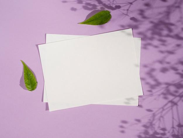 White papers da vista superior com sombras