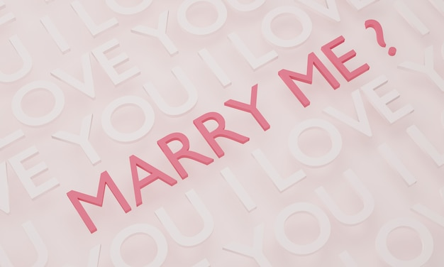Will you marry me, texto rosa no fundo da parede branca