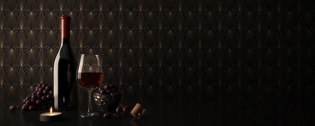 Winebottle e copo de vinho tinto com uvas