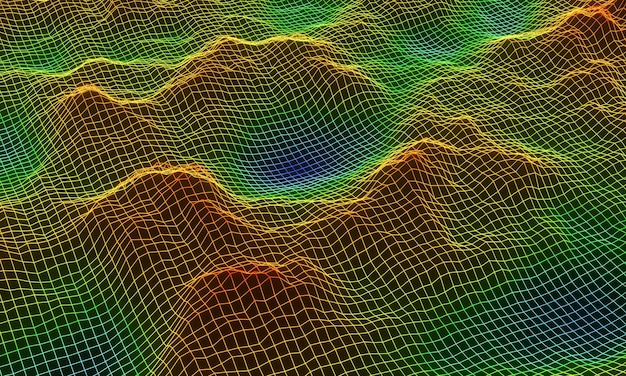 Wireframe de grade de montanha topográfica 3d.