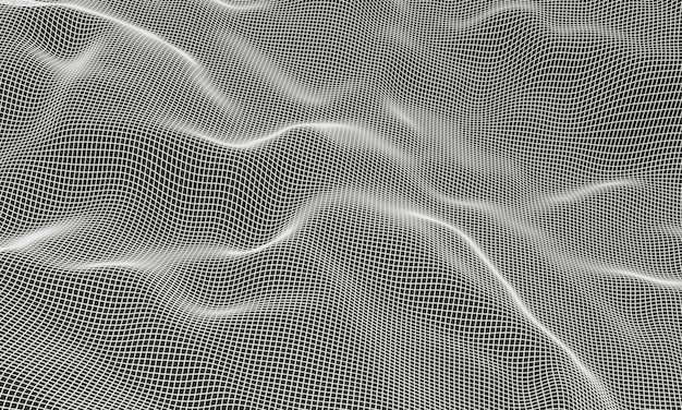 Wireframe de grade de montanha topográfica branca