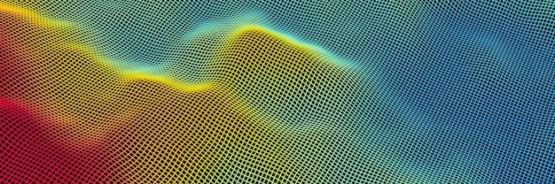 Wireframe de grade topográfica renderizado 3d. ilha de gradiente.
