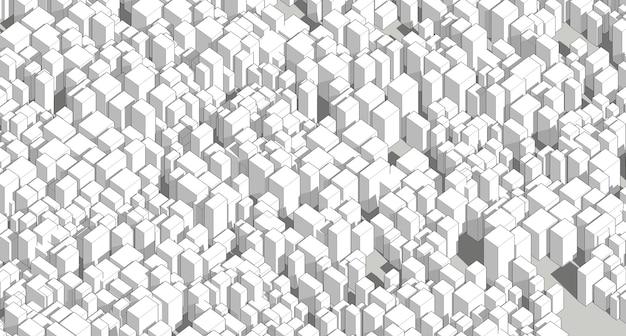 Wireframe, panorama, arquitetura abstrata, ilustração 3d
