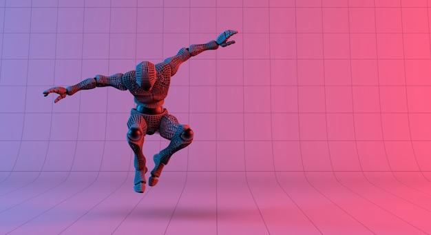 Wireframe robô saltar sobre fundo vermelho gradiente violeta
