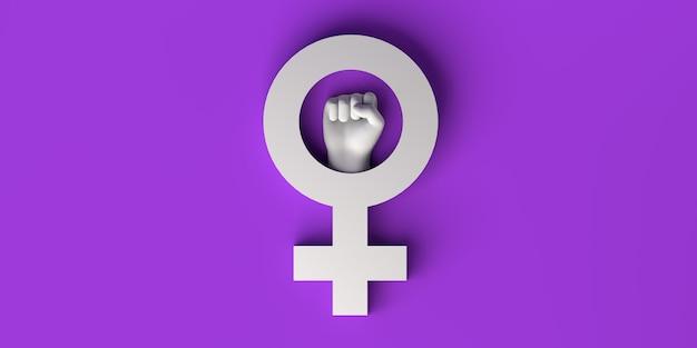 Woman fist ilustração 3d do dia internacional para a eliminação da violência contra o feminismo feminino