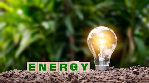 Woodblock rotulado energia no solo e lâmpadas economizadoras que iluminam a energia verde e ideias de economia de energia.
