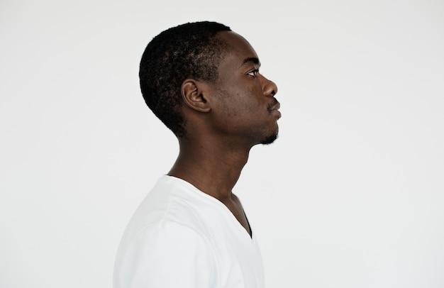 Worldface- vista lateral de um homem africano
