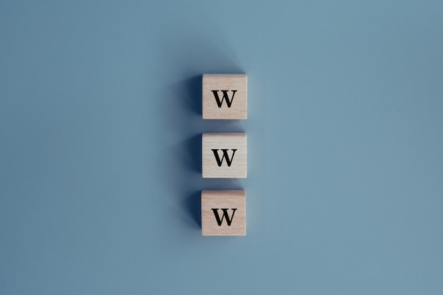 Www navegador no conceito de bloco de madeira
