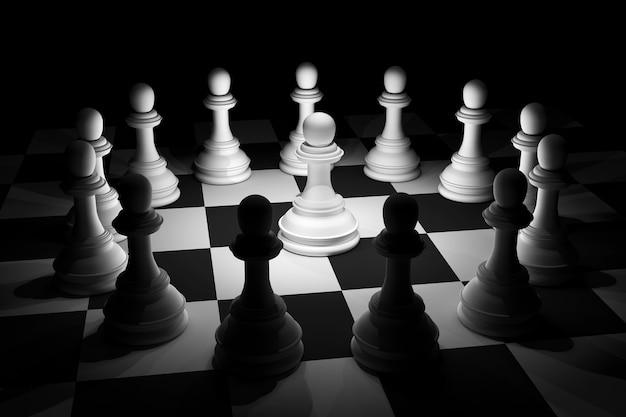 Xadrez branco na luz do projector no tabuleiro de xadrez.