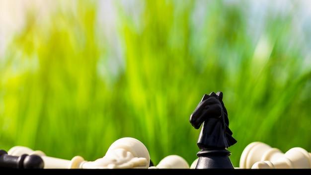 Xadrez de cavalo preto fica sozinho em um tabuleiro de xadrez