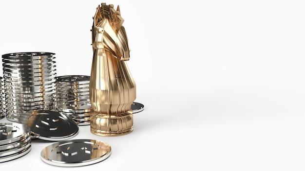 Xadrez do cavaleiro do ouro e rendição das moedas de prata 3d no fundo branco para o conteúdo do negócio.