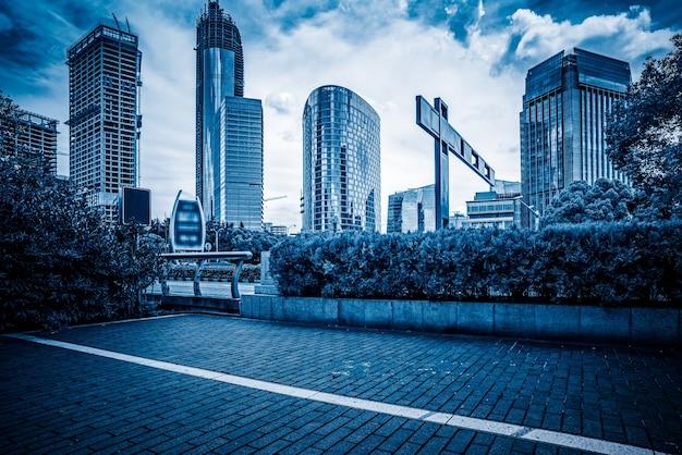 Xangai, o bund, construção e tráfego rodoviário, tecnologia azul de tecnologia, imagens de fundo
