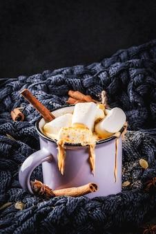 Xícara com chocolate quente de abóbora picante quente, com marshmallow e canela, anis