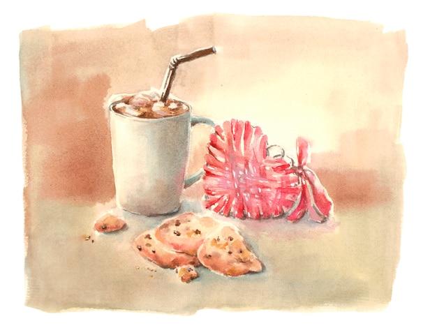 Xícara de cacau e biscoitos de chocolate