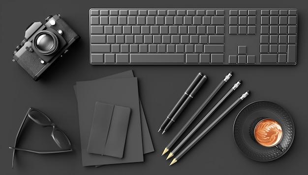 Xícara de café ao lado da câmera, teclado e óculos em um fundo preto, ilustração 3d