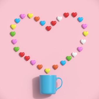 Xícara de café azul com corações coloridos no fundo cor-de-rosa. ideia mínima do conceito do coração.