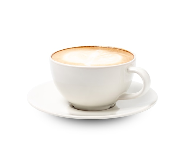 Xícara de café branca cappuccino isolado no branco