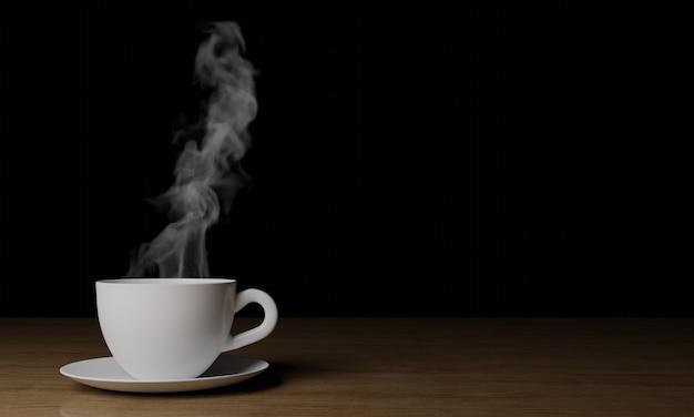 Xícara de café branca com fumaça em madeira de fundo preto escuro