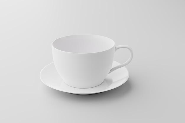 Xícara de café branca e limpa em fundo branco, renderização de ilustração 3d