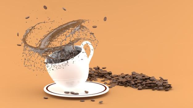 Xícara de café branco com respingo em marrom, renderização 3d de xícara de café