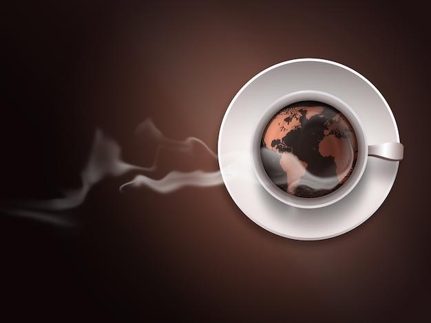 Xícara de café com mapa-múndi em fundo escuro