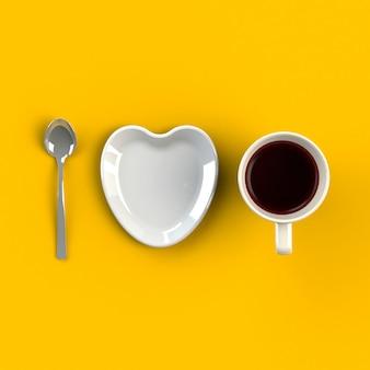 Xícara de café com prato de forma de coração