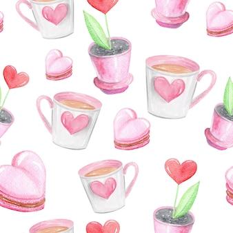 Xícara de café com um coração, corações e plantas em um padrão de pote rosa sobre fundo branco