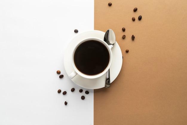 Xícara de café com vista superior