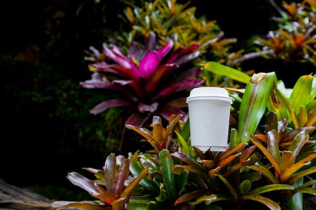 Xícara de café de papel branco na bela natureza