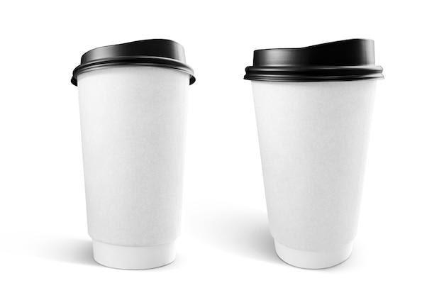 Xícara de café de papel kraft branco
