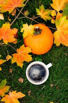 Xícara de café e abóbora com folhas de bordo em uma grama verde em um jardim