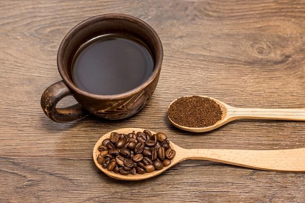 Xícara de café e café beands em colheres de pau