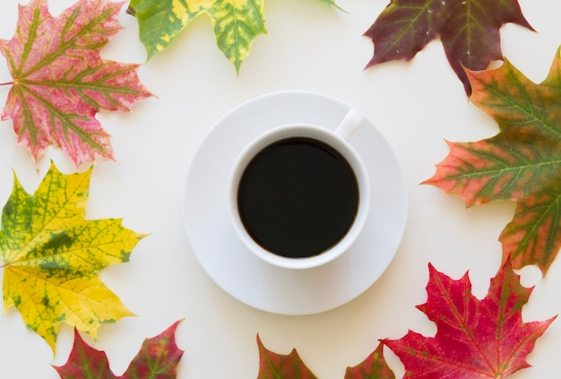 Xícara de café emoldurada com folhas de outono vista de cima plana