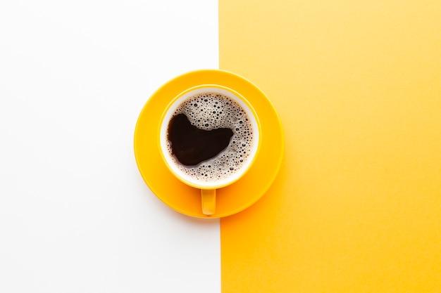 Xícara de café fresco vista superior