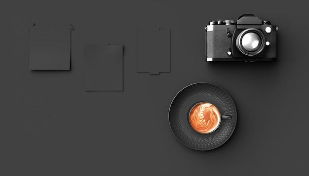 Xícara de café perto da câmera em um fundo preto, ilustração 3d