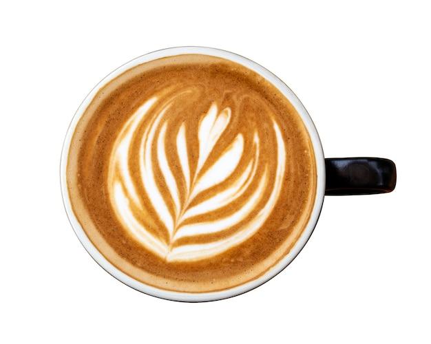 Xícara de café preto com leite com leite em forma de tulipa de espuma isolada no fundo branco. vista do topo.