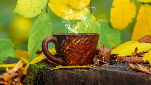 Xícara de café quente na floresta em um toco entre folhas coloridas. descanse na floresta