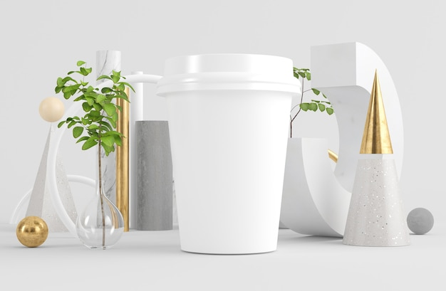 Xícara de café simulada em renderização 3d de fundo abstrato surreal